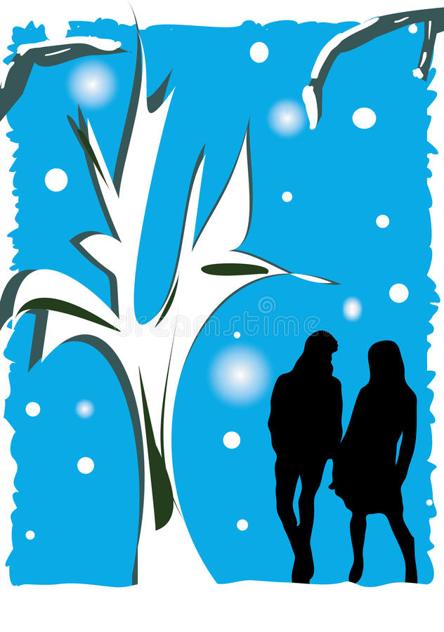 Winter couple. An illustration of a silhouette of a couple holding hands in a winter scene vector illustration