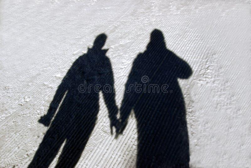 Winter Couple Shadow Royalty Free Stock Photo