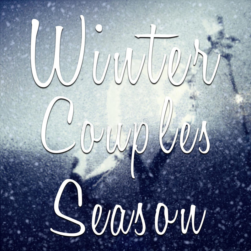 Winter couples season motivational quote royalty free stock images