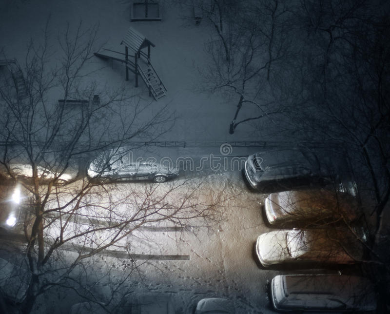 Download Winter court yard stock photo. Image of automobile, darkly - 26618526