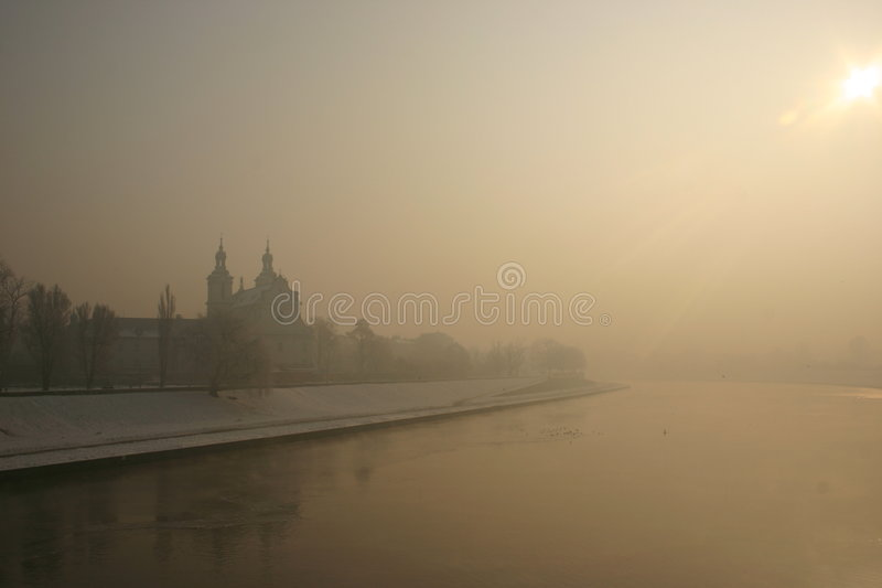 Winter in Cracow. Church on the rock at Vistula River royalty free stock photos