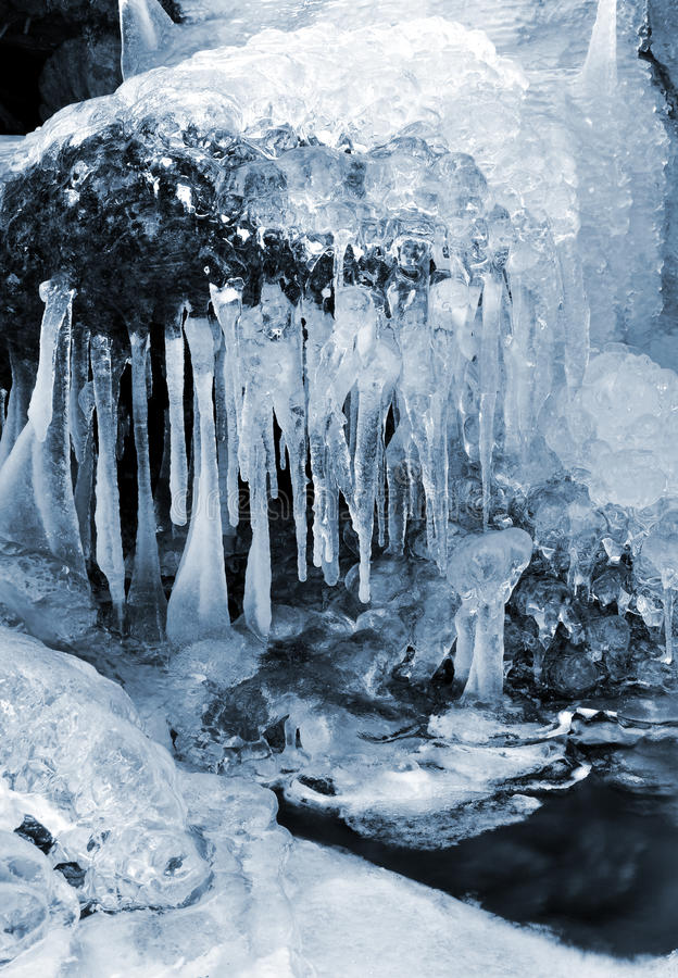 Winter creek in the national park Sumava royalty free stock photo