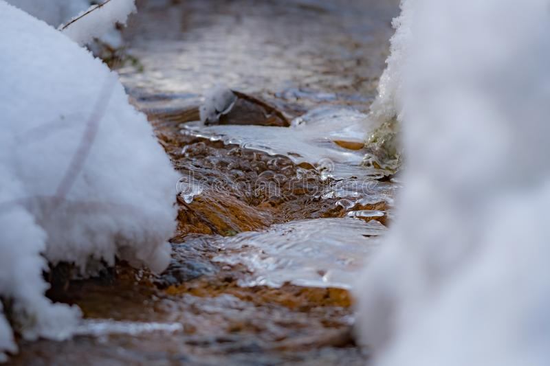Winter creek with pieces of ice in the forest stock images
