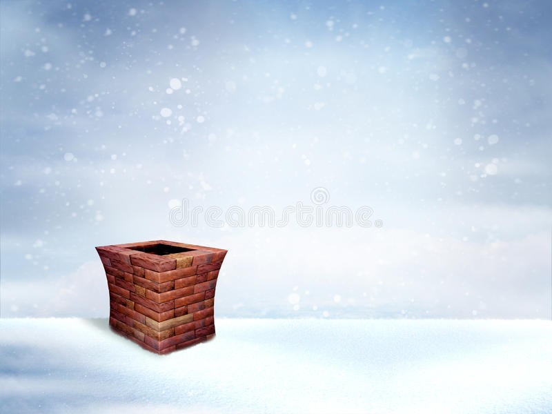 Winter-Dach mit Kamin vektor abbildung