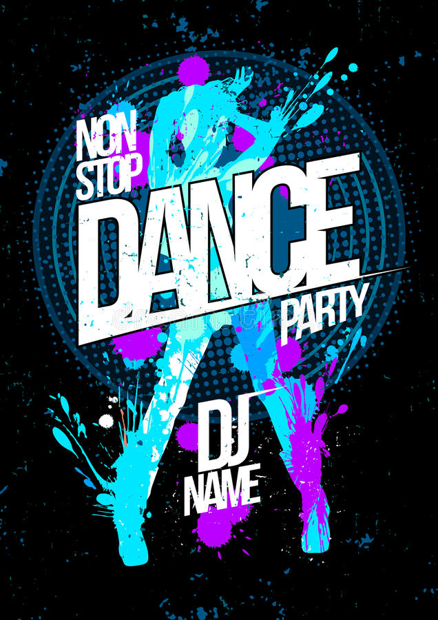 Winter dance party design concept with dancing woman silhouette vector illustration