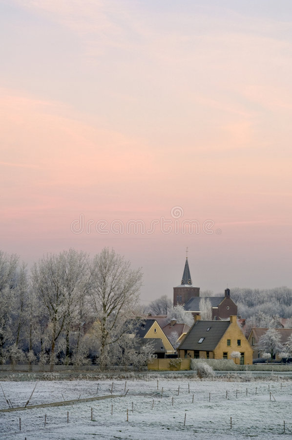 Winter dawn on Ellewoutsdijk, the Netherlands royalty free stock images