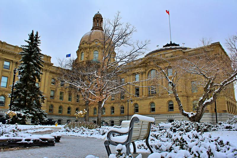 Winter Day At The Alberta Legislature. A wintery snowy day outside of the iconic Alberta legislature building royalty free stock photos