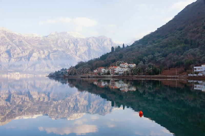 Winter day in Montenegro. View of the Kotor Bay near seaside villlage of Stoliv. View of the Kotor Bay near seaside village of Stoliv on a winter day. Montenegro royalty free stock photography