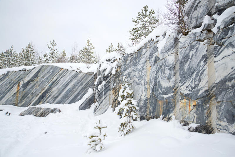 Winter day in an old marble quarry. Ruskeala, Karelia stock images