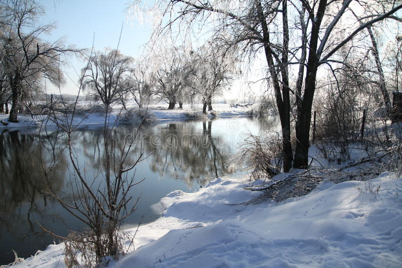 Winter day at the river royalty free stock photography