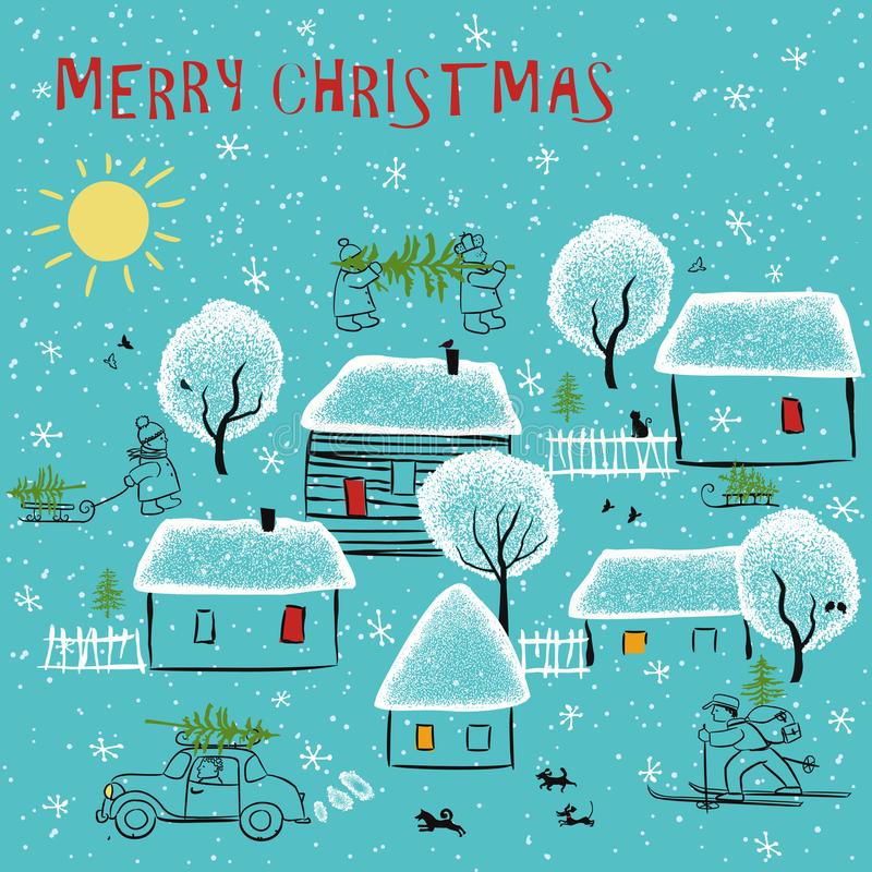 Winter day in the village. Simple stylized landscape with village houses, trees covered with snow and hurrying to home people with Christmas trees vector illustration