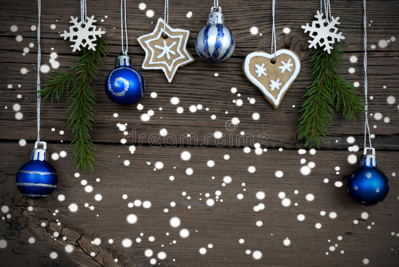 Winter Decorated Christmas Background with Snow stock photo