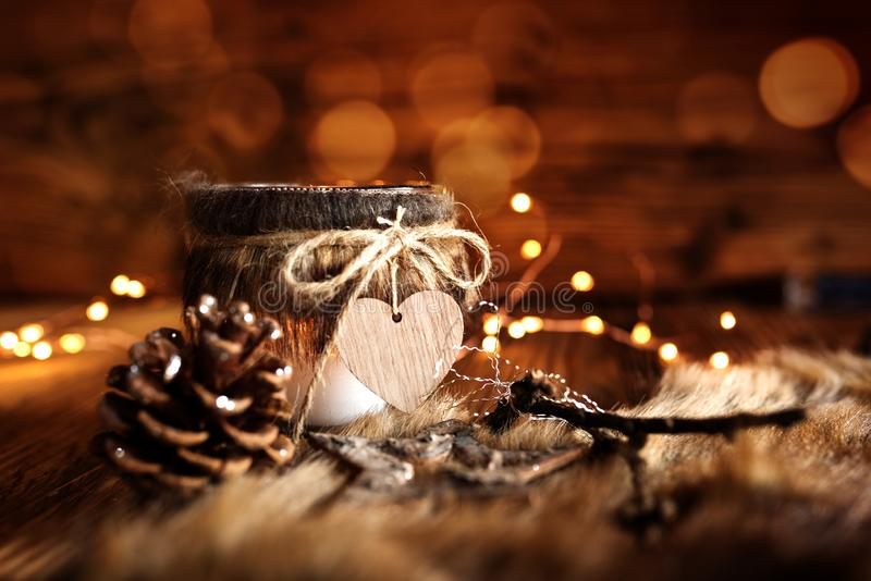 Winter decoration in country house style. With golden bokeh stock images