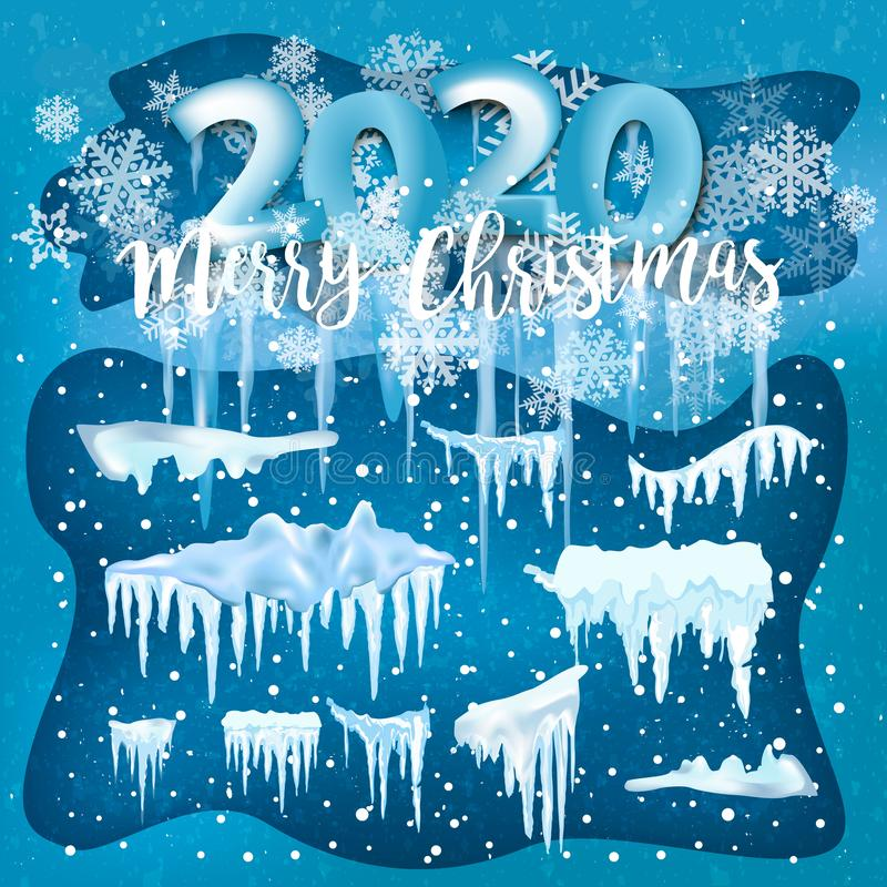 2020 winter decorations Set of snow icicles, snow cap isolated. Snowy elements on winter background. 2020 Christmas Vector snow royalty free illustration