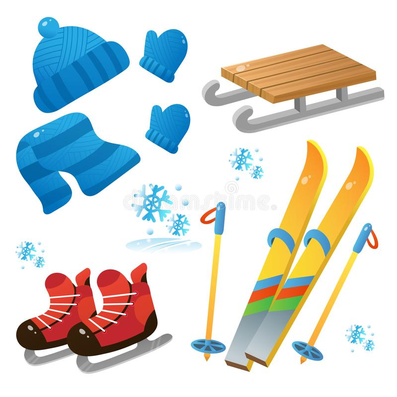 Free Winter Decorative Set For Kids. Ski And Skates. Wood Sledge. Cap. Mittens. Scarf. Winter Clothes. Winter Leisure Activities Royalty Free Stock Photos - 163344488