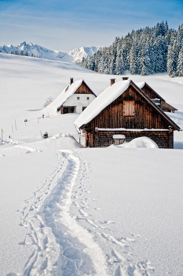 Winter in den österreichischen Alpen stockbild