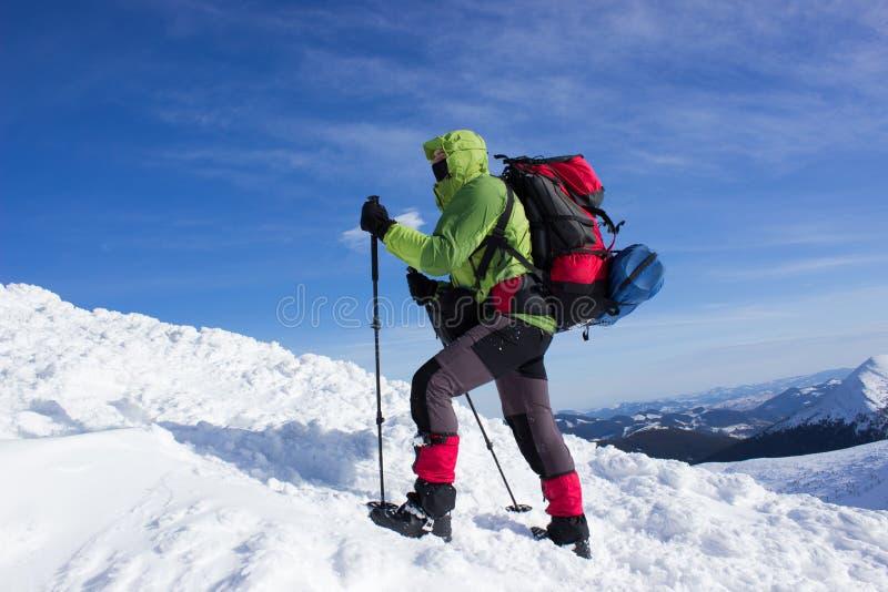Winter, der in den Bergen wandert stockfoto