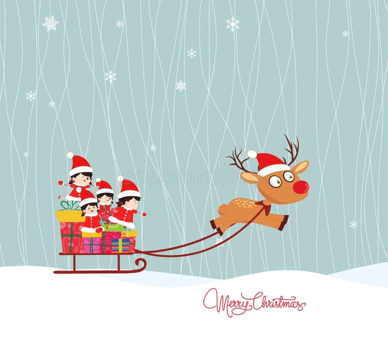 winter der frohen weihnachten mit kindern vektor abbildung bild 45513200. Black Bedroom Furniture Sets. Home Design Ideas