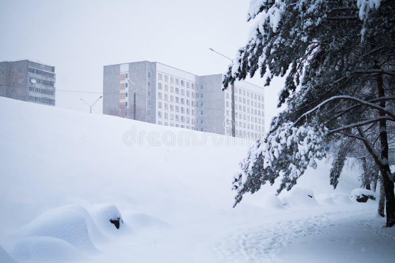 Winter in der Stadt stockfotografie