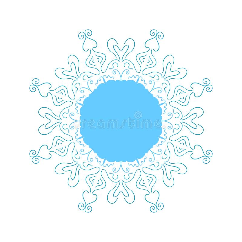 Winter design. Stylized Christmas snowflake on white background. Ornate shape. Winter design element. Stylized Christmas snowflake on white background. Ornate stock illustration