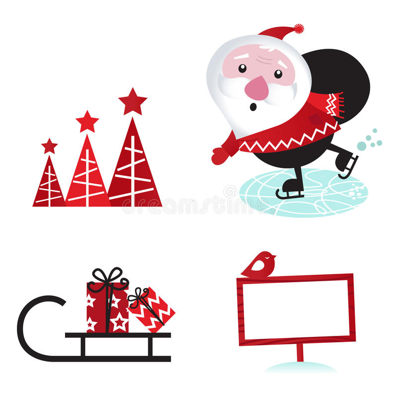 Download Winter Design Retro Christmas Elements Stock Vector - Illustration of decor, cute: 21981110