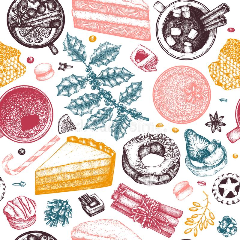 Winter desserts and hot seasonal drinks backdrop. Mulled wine, hot chocolate, coffee, tea and sweet baking illustration. Hand. Drawn winter food and drinks vector illustration