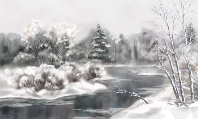 Winter Digital Watercolor Landscape. Digital artistic painting, winter watercolor landscape with snow, river, frozen trees royalty free illustration