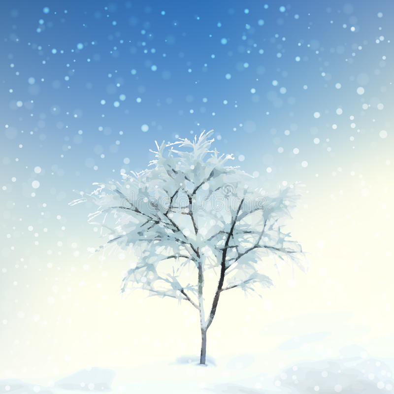 Winter Digital Watercolor Landscape. Digital vector artistic painting, winter watercolor landscape with snow, frozen tree stock illustration