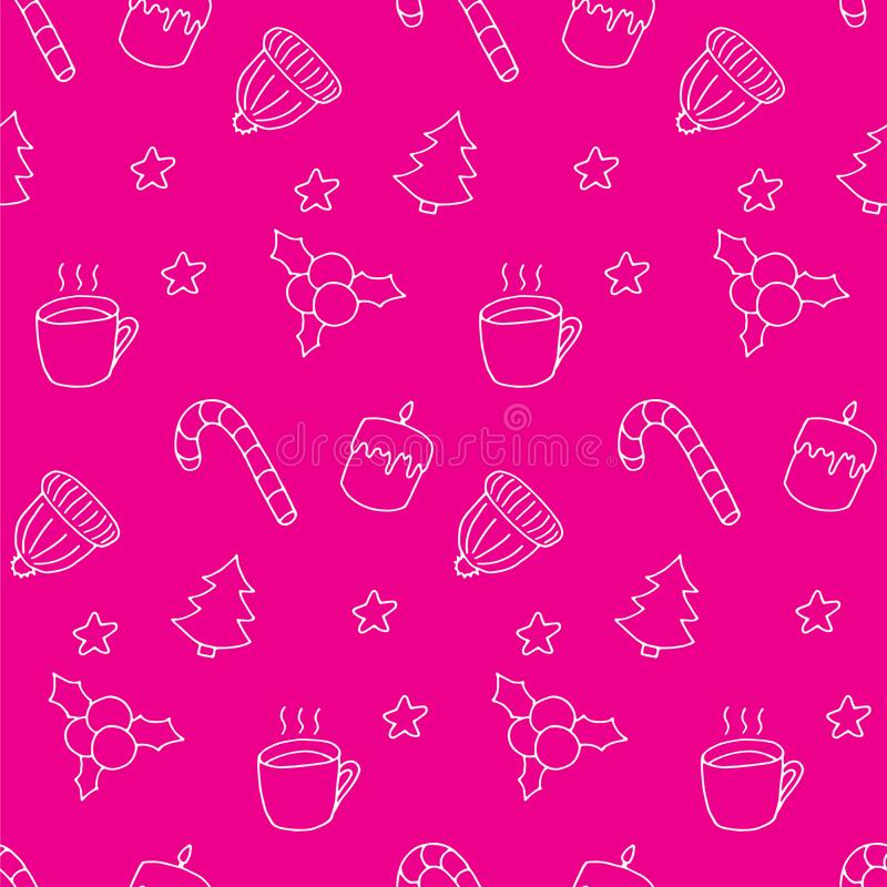 Free Winter Doodle Seamless Pattern. White Elements On Pink Board. Cute Hand Drawn Print. Candle, Candy, Cup, Hat, Stars Royalty Free Stock Photography - 199655827