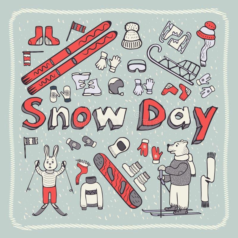 Winter doodle style8 stock illustration