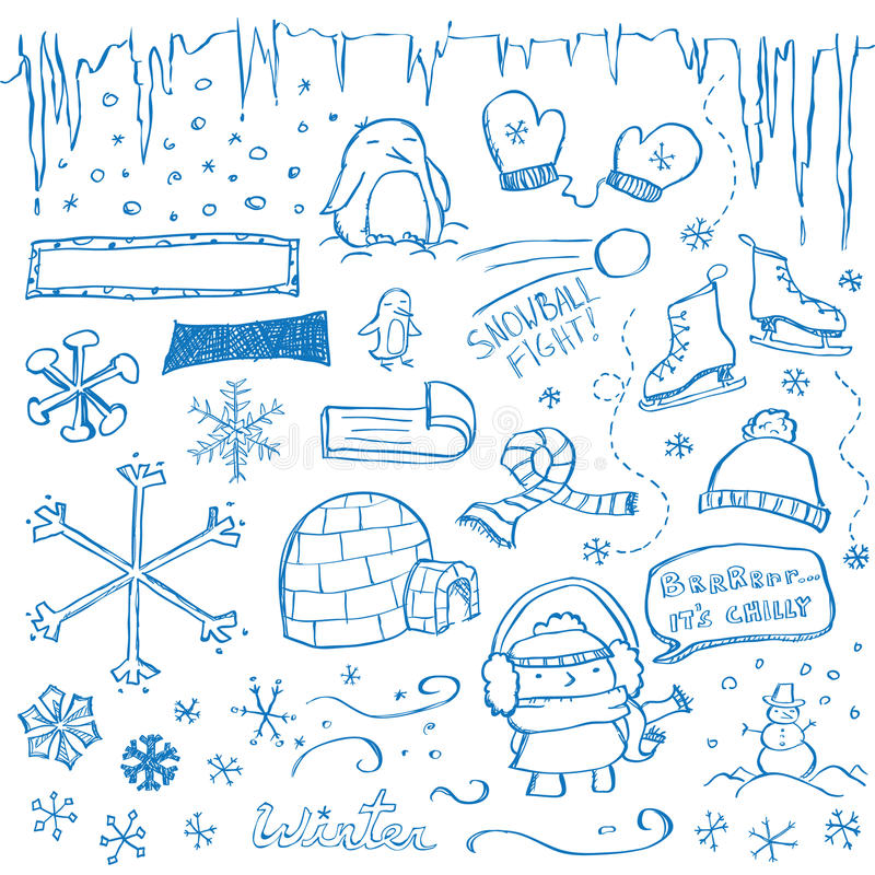 Winter Doodles Stock Photos