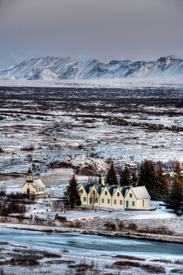 Winter-Dorf lizenzfreie stockfotos