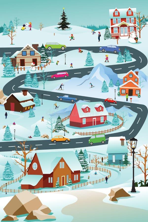 Winter-Dorf mit Leute-Auto-und Gebäude-Illustration stock abbildung