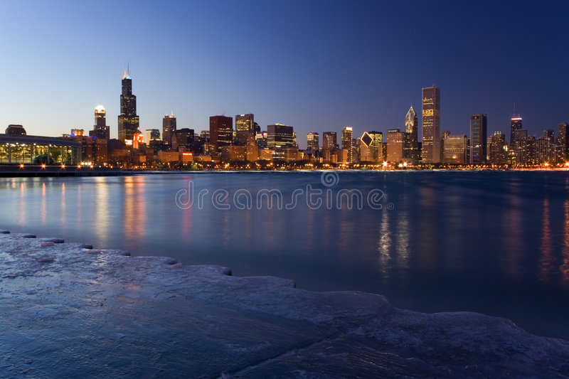 Winter downtown view royalty free stock photos