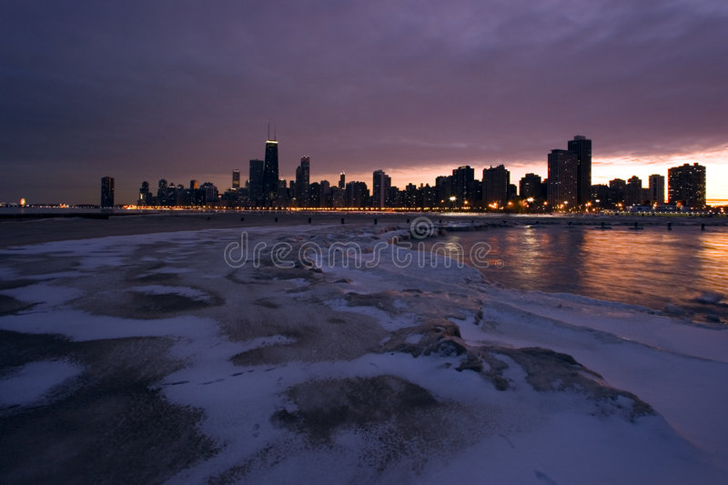 Winter downtown view royalty free stock image