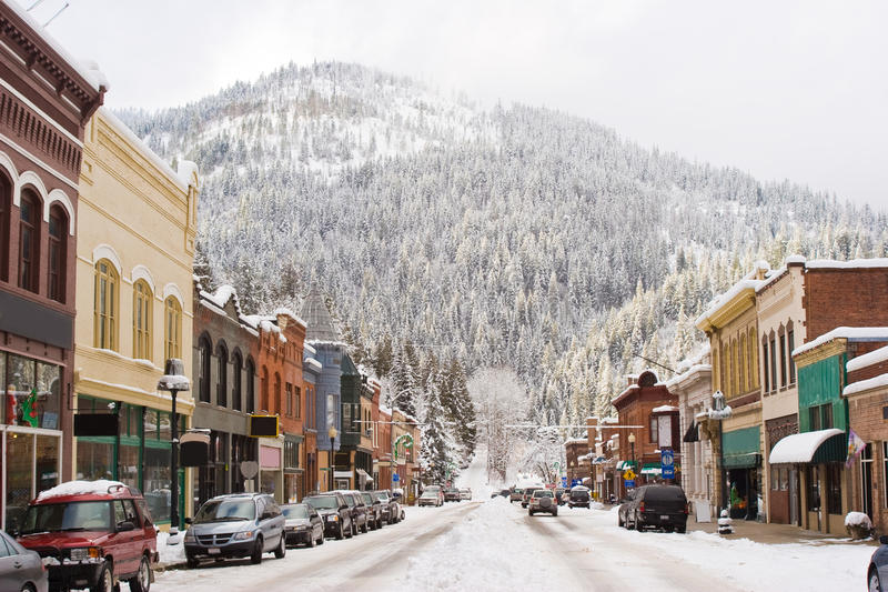 Winter in Downtown Wallace Idaho royalty free stock photo