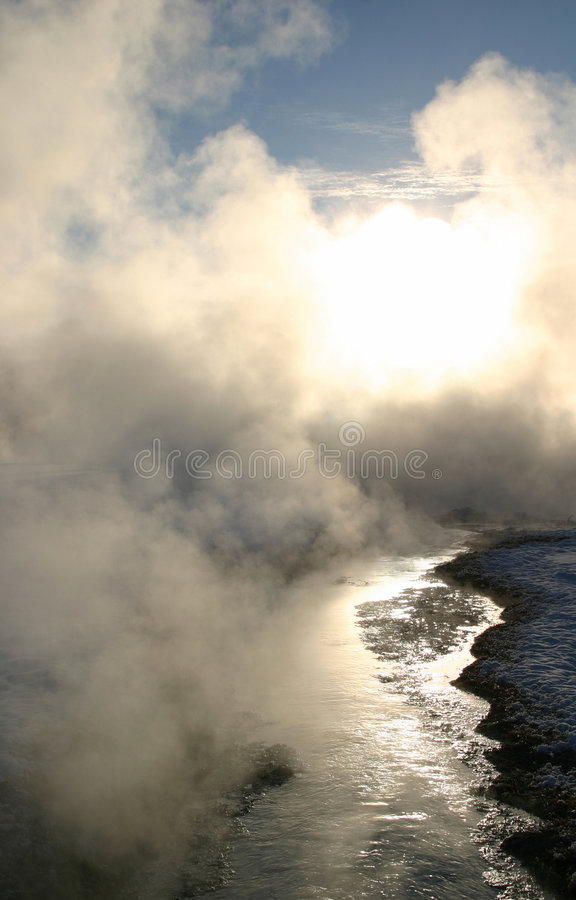 Winter Dream Series 10. The combination of extremely cold temperatures and the boiling hot water that makes its way to the surface of the earth creates a stock images