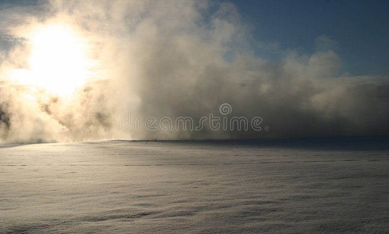 Winter Dream Series 8. The combination of extremely cold temperatures and the boiling hot water that makes its way to the surface of the earth creates a stock image