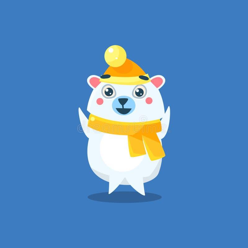 Winter Dressed Polar Bear. Flat Primitive Geometric Design Vector Icon Isolated On Blue Background royalty free illustration