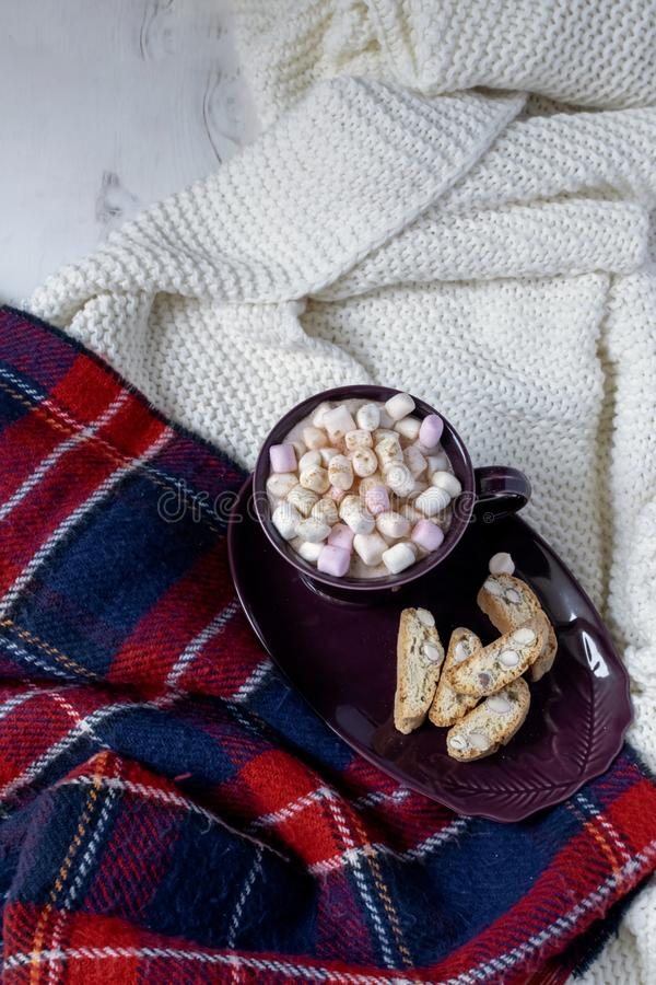 Winter drink flat lay - hot chocolate with marshmallows, cookies, red and gold deco baubles, garland, knitted checkered plaid,. Hygge royalty free stock photography