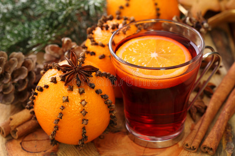 Winter drink with oranges stock images