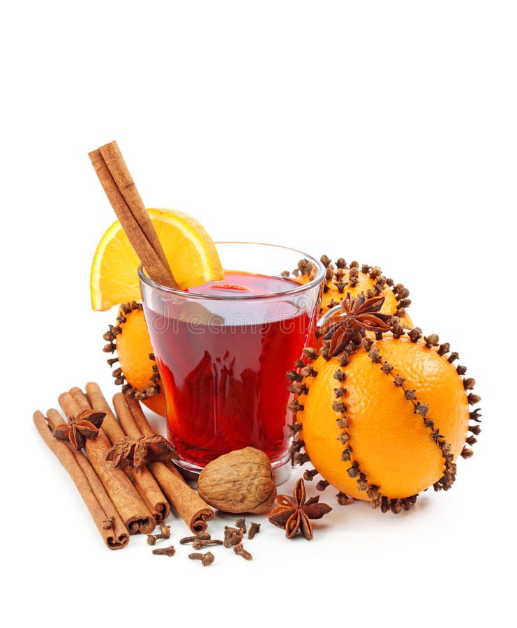 Winter drink with oranges and cloves stock photography