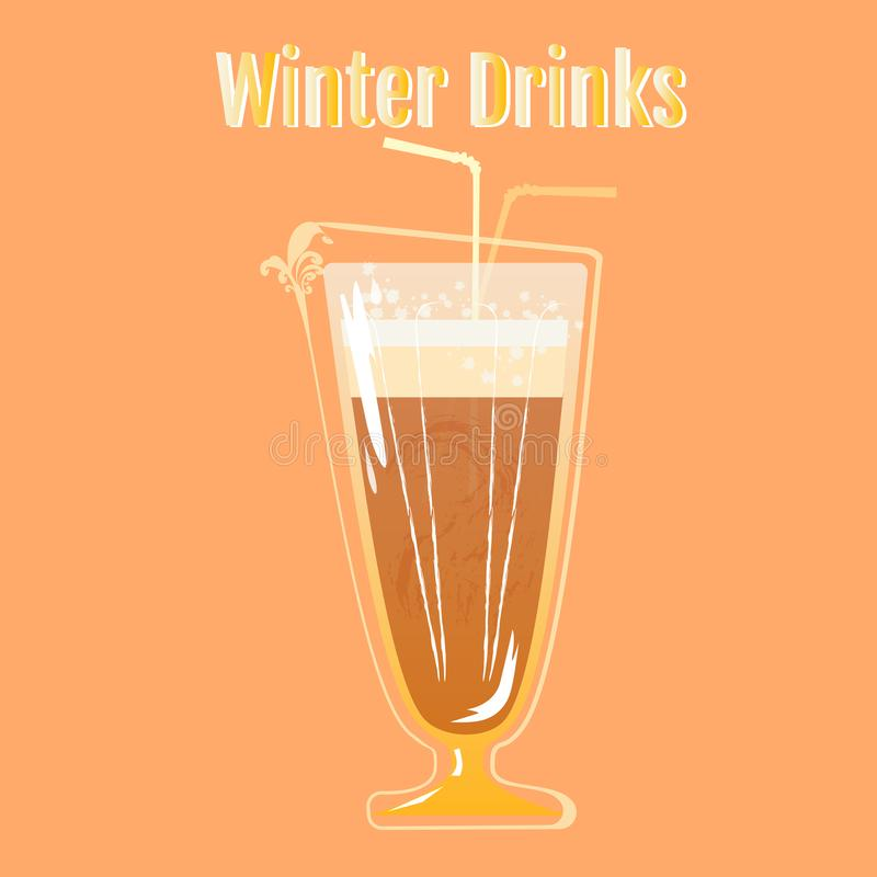 Winter Drinks |Chocolate Smoothies. Warm drink in the cold winter. Great cocktail, alcohol drink, chocolate smoothies, bright light illustration, cafe, beverage stock illustration