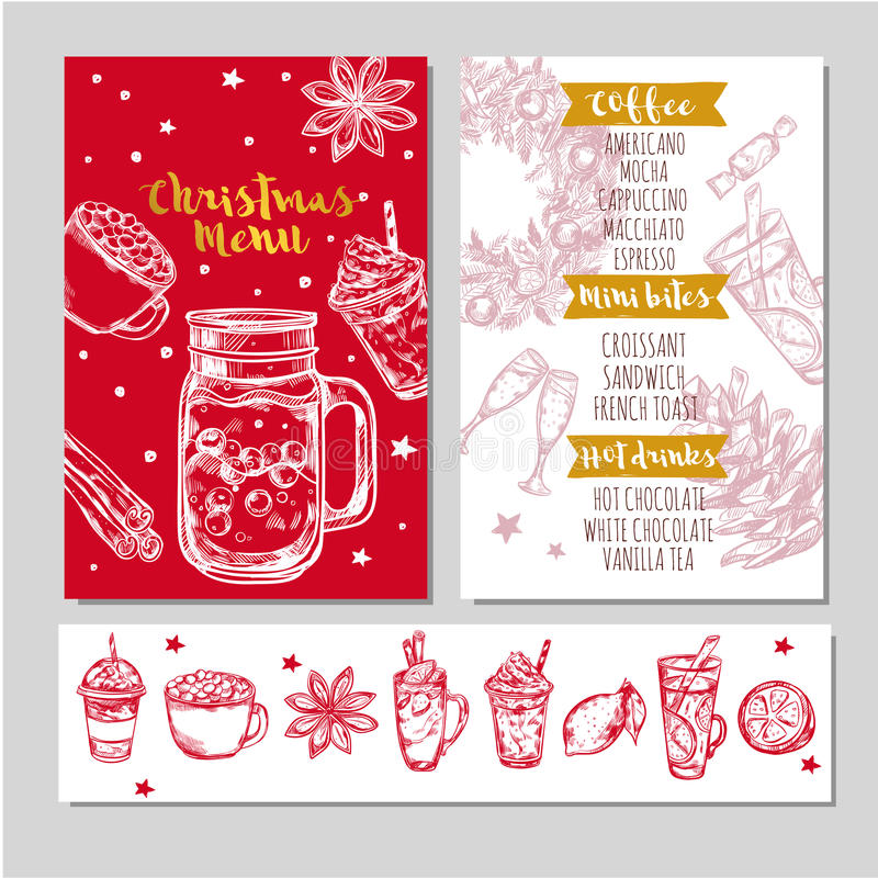 Winter Drinks Menu vector illustration