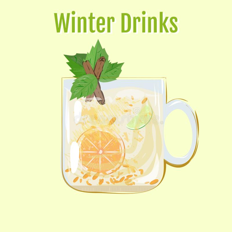 Winter Drinks | Sea-bucknorth Tea. Warm drink in the cold winter. Great cocktail, alcohol drink, chocolate smoothies, bright light illustration, cafe, beverage royalty free illustration
