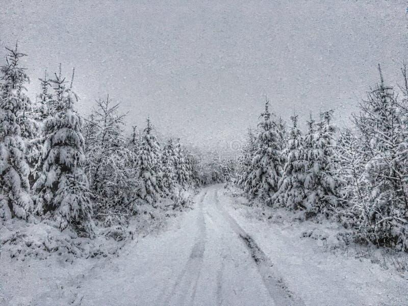Winter drive stock image
