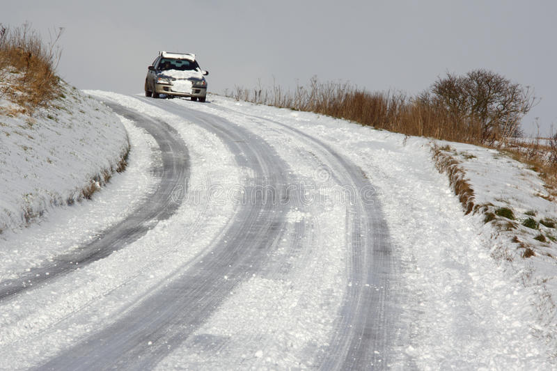 Winter driving - North Yorkshire - England stock photo