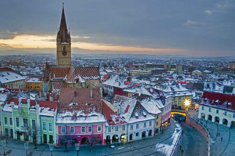 Winter dusk landscape in Sibiu stock photography