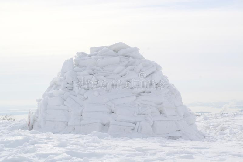 Winter dwelling of Eskimos. Igloo. Eskimos village. Winter dwelling of Eskimos Igloo Eskimos village royalty free stock image