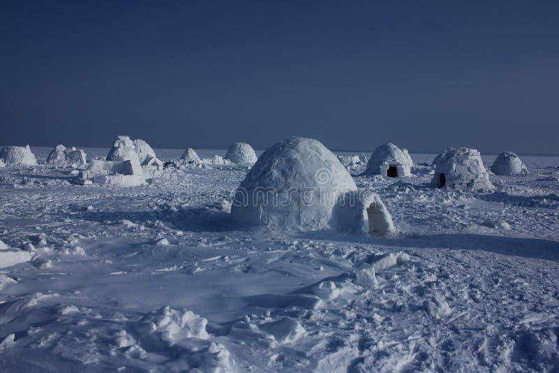 Igloo. Eskimos village. Winter dwelling of Eskimos. Igloo. Eskimos village. Winter background royalty free stock photography